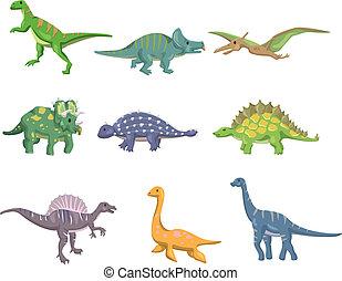 dinosauro, cartone animato, icona