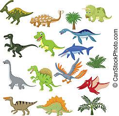 dinosauro, cartone animato, set, collezione
