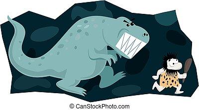 dinosauro, caveman, inseguire