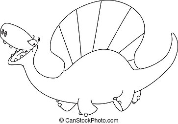 dinosauro, dimetrodon, delineato