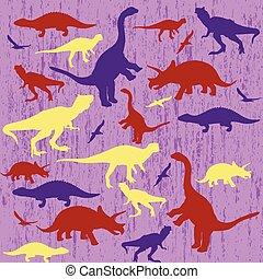 dinosauro, silhouette