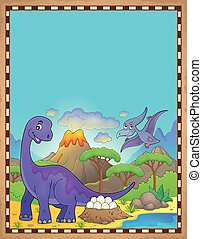 dinosauro, tema, 2, pergamena