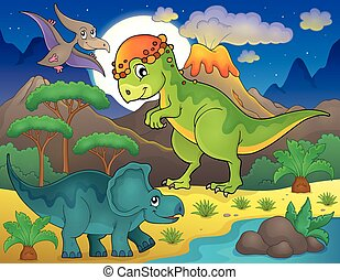 dinosauro, tema, 4, paesaggio, notte