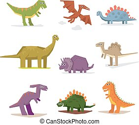 Dinosaurs and prehistoric period, vector illustration flat ...