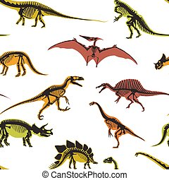 Dinosaurs and pterodactyl types of animals seamless pattern vector