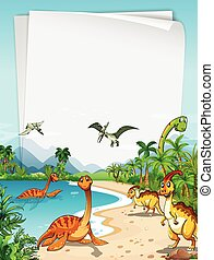 Dinosaurs at the ocean