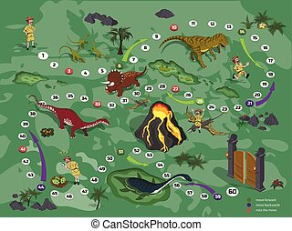 Dinosaurs board game for children in cartoon style. Landscape with a path image. Adventure map of dino park in isometric style. Board maze