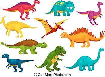 Dinosaurs cartoon collection. Vector animals
