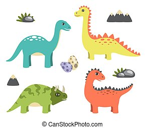 Dinosaurs Collection and Icons Vector Illustration