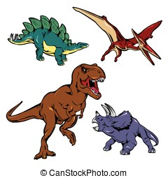 Dinosaurs Colored Icons Set