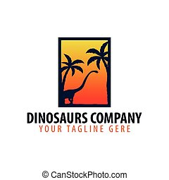 Dinosaurs company logo or emblem. Vector illustration.