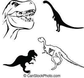 dinosaurs - dinosaur illustraiton vector silhouettes