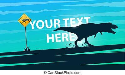 Dinosaurs do not exist - illustration. Cartoon Landscape.