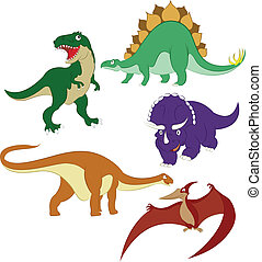 Dinosaurs - Collection of vector images of diffirent cartoon...