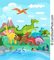 dinosaurs - illustration with dinosaurs