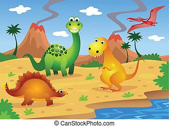 dinosaurs - vector illustration of cute dinosaurs