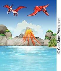 Dinosaurs flying over volcano illustration