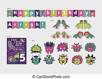 Dinosaurs girl party birthday decor set