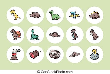 Dinosaurs icons set,eps10