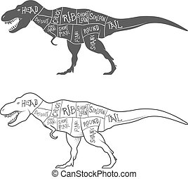 Dinosaurs illustration with cut scheme on white background. Vector