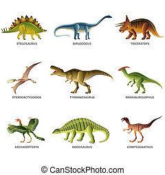 Dinosaurs isolated on white vector set - Dinosaurs isolated...