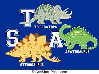 Dinosaurs letters Triceratops, Apatosaurus and Stegosaurus .