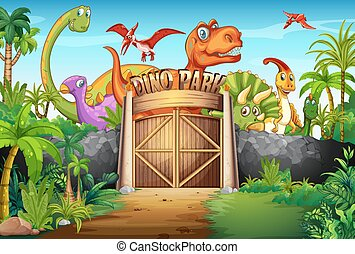 Dinosaurs living in the park illustration