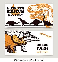 Dinosaurs museum exposition 2 banners set - Paleontology...