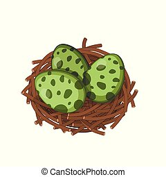 Dinosaurs nest with eggs in isometric style. Isolated image of jurassic monsters