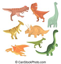 Dinosaurs Of Jurassic Period Collection Of Prehistoric Extinct Giant Reptiles Cartoon Realistic Animals