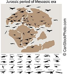 Dinosaurs of jurassic period on map