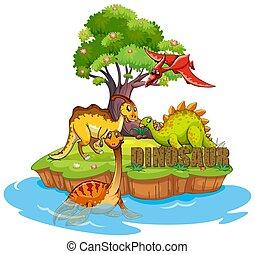 Dinosaurs on the island
