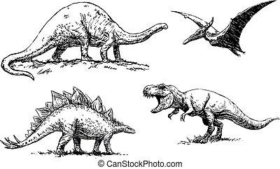 dinosaurs, osvětlení, -, dát, vektor
