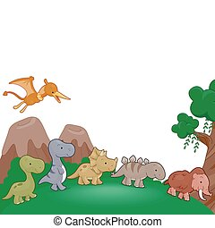 Illustration of Dinosaurs Parading Around