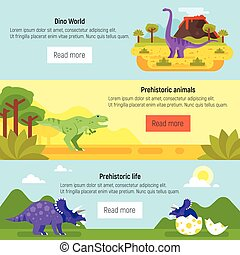dinosaurs., préhistorique, bannière, paysage