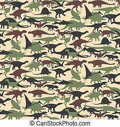 Dinosaurs Set - Seamless of camouflage pattern with...