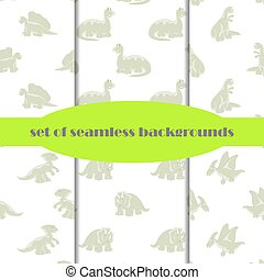 Dinosaurs. Set of seamless backgrounds