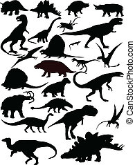 Dinosaurs silhouette - vector