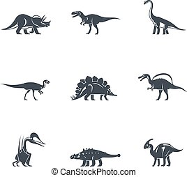 Dinosaurs silhouettes icons