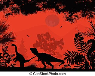 Dinosaurs silhouettes in beautiful landscape