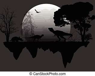 Dinosaurs Silhouettes in front a full moon