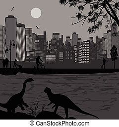 Dinosaurs silhouettes in front of a cityscape near water