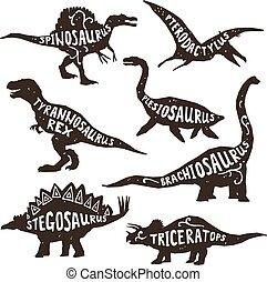Dinosaurs black silhouettes set with lettering pterodactyl plesiosaur spinosaurus tyrannosaurus triceratops on white background isolated vector illustration
