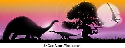 Dinosaurs soft landscape - Pastel landscape at sunrise with...