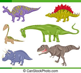 dinosaurs species set cartoon illustration - Cartoon...