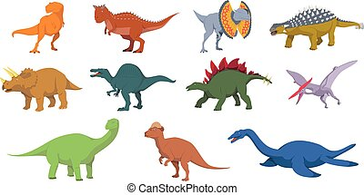Dinosaurs vector illustration set in white background