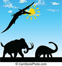 dinosaurs vector silhouette illustration