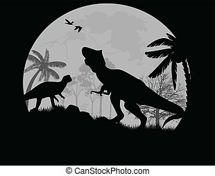 Dinosaurs vector Silhouettes in front a full moon