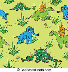 Dinosaurs walking in nature. Seamless. - Dinosaurs walking...