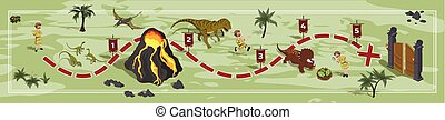 Dinosaurs world map in cartoon style. Landscape with a path image. Adventure in dino park in isometric style. Board maze